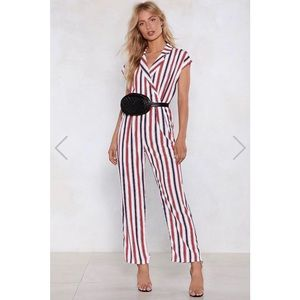 NWT NastyGal Stripped Jumpsuit
